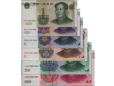 PR CHINA 6 NOTES SET, 1 SAME SERIAL, GUARANTEED DELIVERY, FREE REG POST (Aust)!