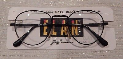 Elan 9071 Matte Black 46/18 P3 Round Eyeglass Frame New/Old Stock #155