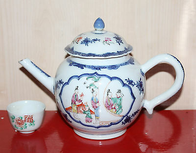 A Rare C17/C18th Chinese Underglazed Blue + enamel Mandarin Tea Pot A/F