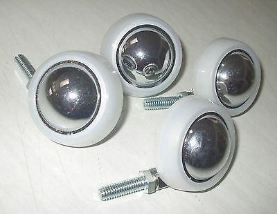 "4 Shepherd Chrome/White 2"" With 1"" Stem Ball Casters New"