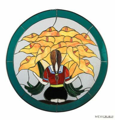 "22"" Native American Sunflowers Tiffany Style Stained Glass Window Panel Door"