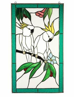 Pair of Cockatoo Birds Tiffany Style Stained Glass Window Panel Door Metal Frame