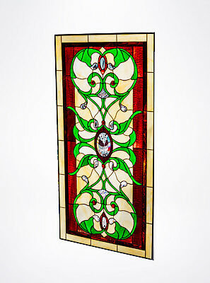 Tiffany Style Beveled Swirls Stained Glass Window Panel Hanging Metal Frme 40x21
