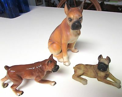 Lot Of 3 Vintage Boxer Dog Figurines Beautiful Coloring