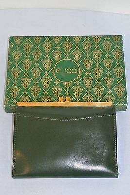 Vintage Gucci Dark Green Leather Coin Purse Wallet ~ New in Original Gucci Box