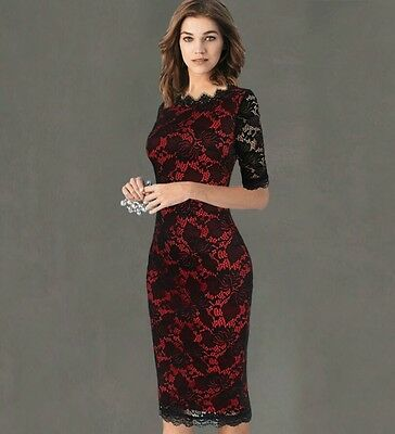 Ladies Red & Black Lace Dress Size 10,12,14