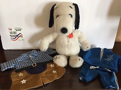 "Vintage Peanuts Snoopy Plush Doll 11"" 1968 with two outfits"