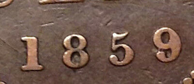 1859 Canada Large Cent Wide 9/8 Scarce Coin !