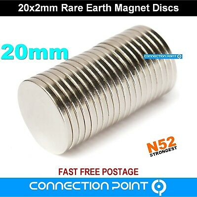 20mm x 2mm Rare Earth Magnets Round Discs N52 Super Strong Neodymium