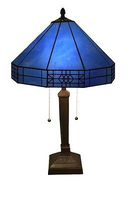 Blue Victorian Tiffany Style Stained Glass Table Lamp Light Dining Room Antique