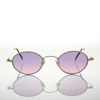 90s Oval Pink and Purple Tinted Lens Hippie Sunglasses - Tulum