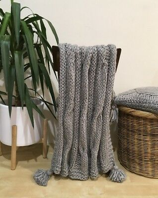 Light Grey Chunky Cable Knit Throw Rug Couch Lounge Sofa Blanket Wool Acrylic