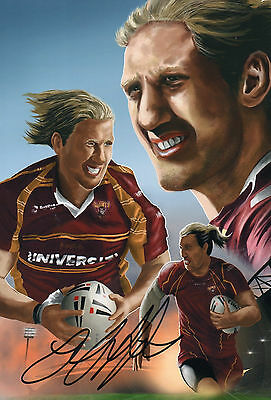 """Eorl Crabtree Hand Signed Huddersfield Giants 12"""" x 8"""" Rugby Photo Montage."""