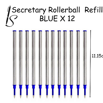 12x  EURO COMPATIBLE ROLLERBALL PEN REFILL INK - BLUE