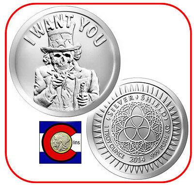 2014 Silver Shield Slave Uncle 1 oz Silver Round/Coin - in an airtite