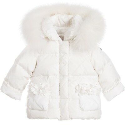 Il Gufo Baby Girls Ivory Down Padded Jacket Coat With Fur Trim 4 Years