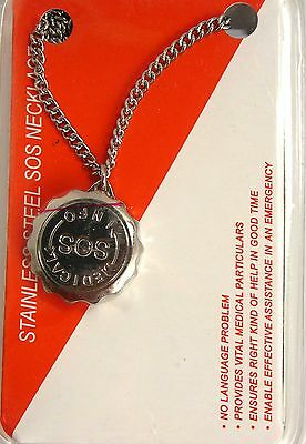 Ladies and Mens SOS Bracelet MedicaL Alert Bangle Stainless Steel Talisman