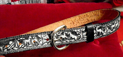 Vintage Leather Embossed Tooled Western Belt Painted Wild Horse Scene  Size 26