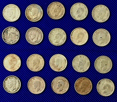 1942 Great Britain UK 3 Pence Silver Coin Lot Of 20 Coins