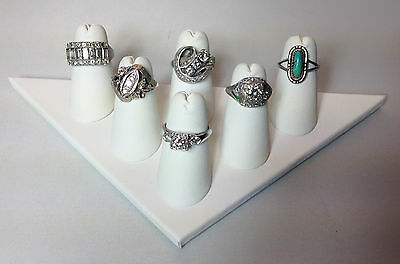TWO 6-Finger Ring Display White Faux Leather Jewelry Showcase rings Triangle