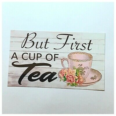 Tea Sign Tin/Plastic Wall Plaque Vintage Antique China Cup Shabby Chic Cafe