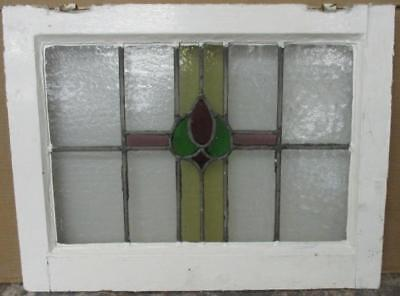 "MID SIZED OLD ENGLISH LEADED STAINED GLASS WINDOW Floral Cross 24.25"" x 18.5"""