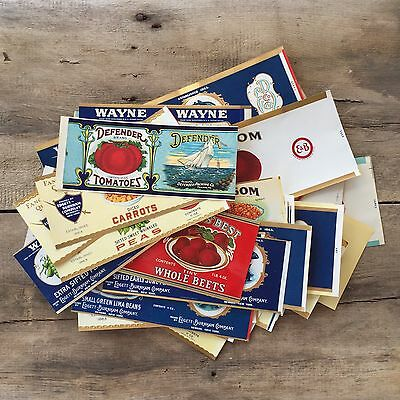 66 Vintage Original Different VEGETABLE CAN Labels Lot 1910s-1930s NOS Unused