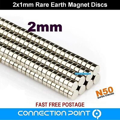 2mm x 1mm Rare Earth Magnets Round Discs N50 Super Strong Neodymium Small Tiny