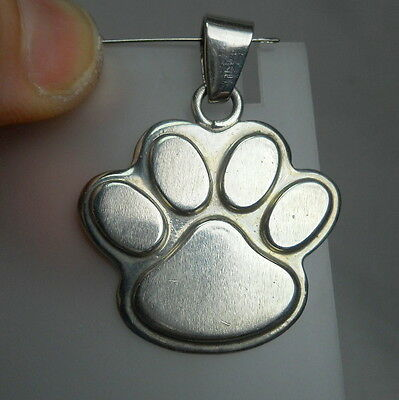 Large DOG or CAT PAWPRINT Sterling Silver 925 Vintage Estate Pendant