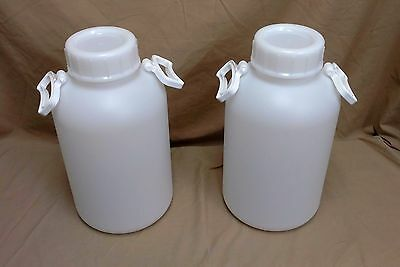 Two Small 10 Liter (2.6 Gallon) Thick Plastic Bottle With Handles, New! KM-340