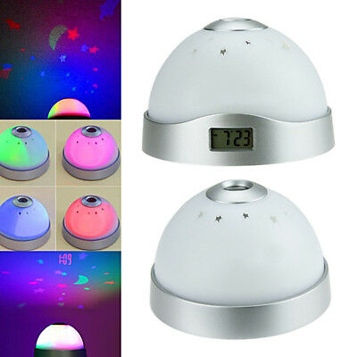 Color Change-Table Clock LED Star Night Light Magic Moon Time Projector Alarm