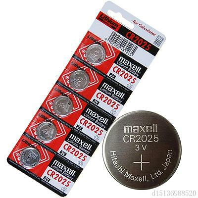 5 Genuine Maxell CR2025 Button Coin Lithium Batteries 3V calculator Remote