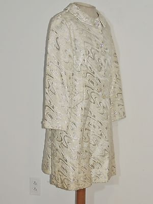 1960's Anne Cohel Glick Silver Metallic Lame' Brocade Coat MED