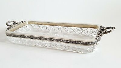 Antique Russian Crystal Silver Tray