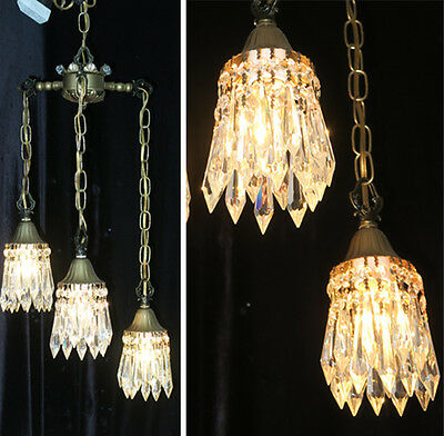 3lite Vintage Swag lamp chandelier tole brass Deco Insp Lily crystal lighting