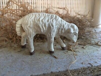 Vintage Composition Grazing Lamb Sheep with Legs,Easter, Nativity Putz Figurine