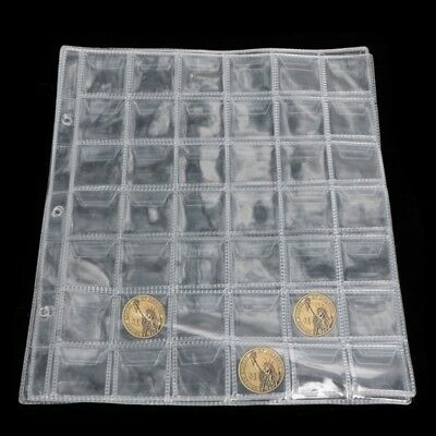 1 Page 42 Pockets Plastic Coin Holders Storage Collection Money Album Case
