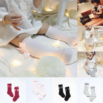 0-4Y Toddler Kid Girl Knee High Long Socks Baby Bow Cotton Casual Stocking USA