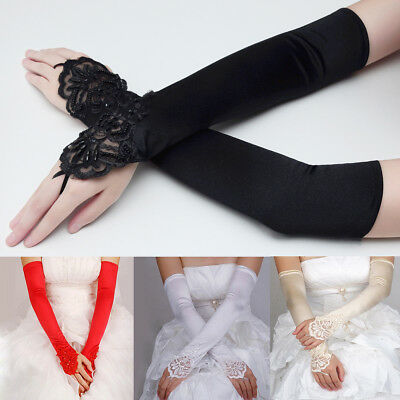 """Lady Bridal Satin Banquet Party Wedding Dress Fingerless Lace Gloves 16.5"""""""