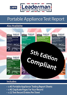 Leaderman PAT Testing Register Log Book for Portable Appliance Tests - 80 Sheets