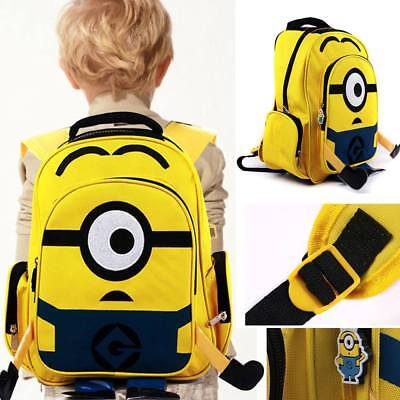 "16"" Despicable Me Minion Backpack Boys Back to School Lunch Bag Kids Kitbag Gift"