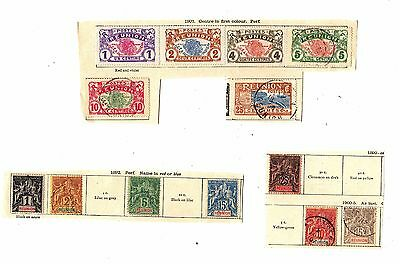 FRANCAISE France REUNION Antique STAMPS Hinged On Page Clippings