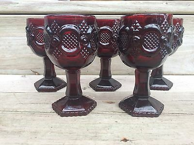 Lot of 5 Avon 1876 Cape Cod Ruby Red Glass Footed Wine Goblets EUC