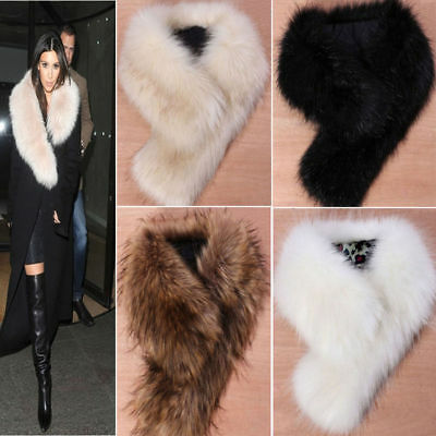 US Stock Trendy Women's Faux Fox Fur Winter Scarf Shawl Raccoon Fur Collar Scarf