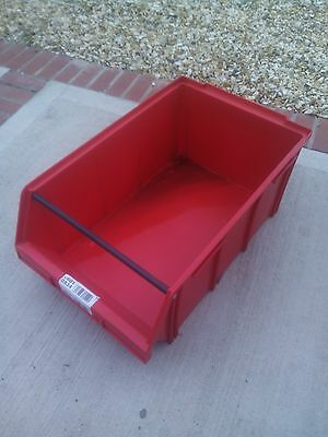 1 x PALLET (18) USED ALLIBERT RED PLASTIC PARTS STORAGE BIN 730 X 445 X 305 MM