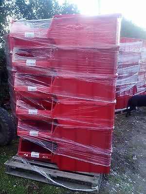 1 x PALLET (18) USED ALLIBERT RED PLASTIC PARTS STORAGE BINS 730 X 445 X 305 MM