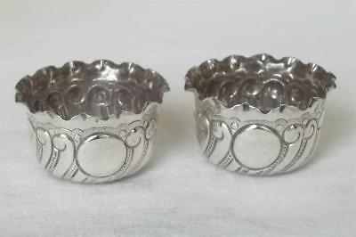 A Stunning Antique Pair Of Solid Sterling Silver Victorian Salt Bowls Dates 1893