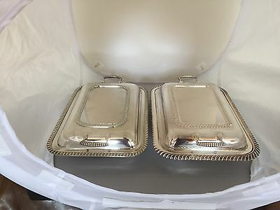 Pair Of Rectangular Shaped Silver Plated Lidded Serving/entree Dishes  (Sd677)
