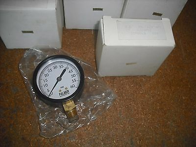 "Palmer Pressure Gauge 0-60 PSI 2-1/2"" Face Dial with 1/4"" NPT Brass Bottom Mount"