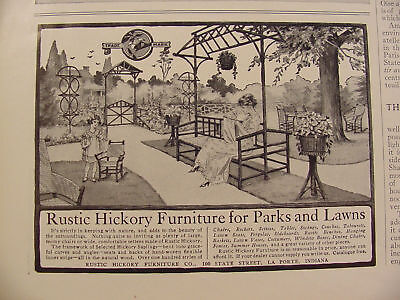 1912 Rustic Hickory Furniture for Parks & Lawns Print Ad ~ La Porte, Indiana
